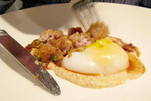 Vidalia's coddled duck egg with crispy sweetbreads, by Kitchen Wench on Flickr