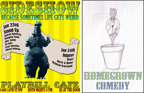 Sideshow playbill designed by Asa Boy, Homegrown Comedy poster courtesy Jay Hastings