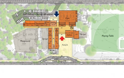 EEK schematic of proposed layout for Stoddert Elementary School &amp; Stoddert Recreation Center