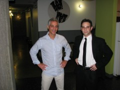 Seth Weitberg next to the man he impersonates in the show, Rahm Emanuel