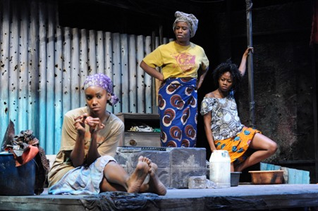 "Ayesha Ngaujah, Uzo Aduba and Liz Femi Wilson in ""Eclipsed"" at Woolly Mammoth, photo credit Stan Barouh"