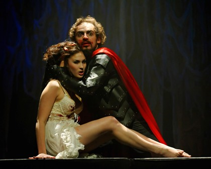 "Dan Istrate and Natalie Berk in Synetic Theater's ""Dracula."" Photo credit: Graeme B. Shaw"