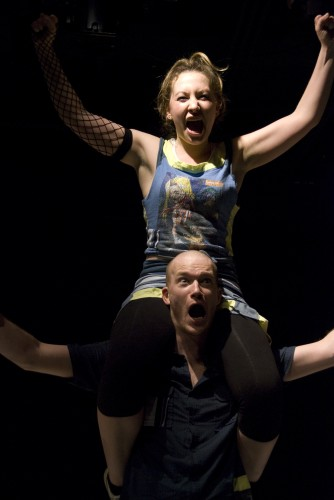 "Madeleine Carr and Rex Daugherty in Solas Nua's ""Disco Pigs."" Photo credit: Dan Brick"