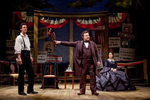 Robert Parsons as Abraham Lincoln, Rick Foucheux as Stephen Douglas and Sarah Zimmerman as Adele Douglas in the Ford's Theatre Society production of Norman Corwin's The Rivalry, directed by Mark Ramont. Photo by T. Charles Erickson.