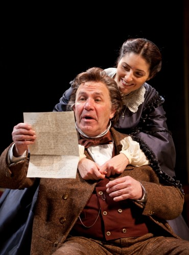 Rick Foucheux as Stephen Douglas and Sarah Zimmerman as Adele Douglas in the Ford's Theatre Society production of Norman Corwin's The Rivalry, directed by Mark Ramont. Photo by T. Charles Erickson.