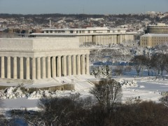 Lincoln Memorial covered in snow by Sgt. Simeon Klebaner, US Park Police Aviation Section