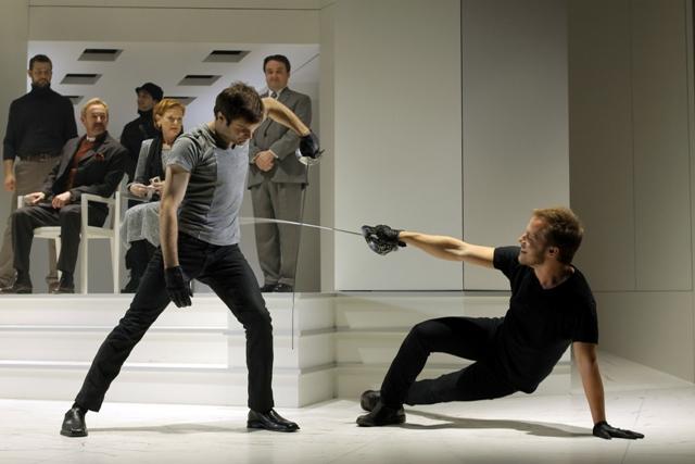 "Laertes (Justin Adams) and Hamlet (Graham Michael Hamilton) in ""Hamlet"" at Folger Theatre. Photo credit: Carol Pratt."