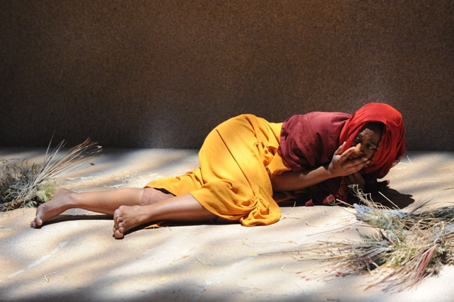 "Erika Rose in Theater J's ""In Darfur,"" photo credit: Stan Barouh."