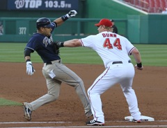 Adam Dunn tags out a Padre