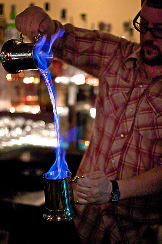 David Fritzler pours up a Blue Blazer cocktail at Tryst. Photo credit: Samer Farha.