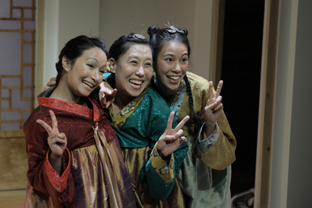 (l to r): Patricia Penn, Sue Jin Song and Youngsun Cho in Songs of the Dragons Flying to Heaven by Young Jean Lee at The Studio 2ndStage. Directed by Natsu Onoda Power. Photo credit: Carol Pratt