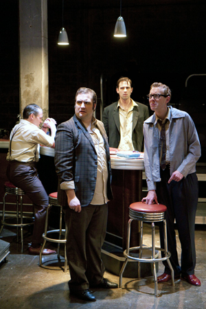 (l to r) Scot McKenzie as Mickey, Matt Dewberry as Sweets, Dylan Myers as Skinny, and Danny Gavigan (back) as Potts in Mojo at The Studio 2ndStage. Photo credit: Scott Suchman.