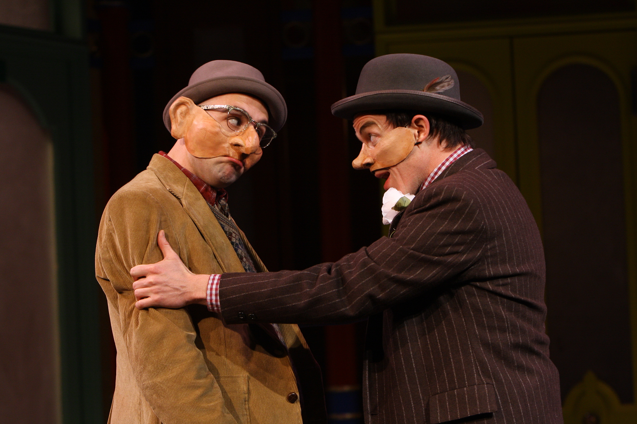 (L-R) Dromio of Syracuse (Nathan Keepers) and his master, Antipholus of Syracuse (Darragh Kennan), in The Comedy of Errors, on stage at Folger Theatre through March 6, 2011. Photo: Carol Pratt.
