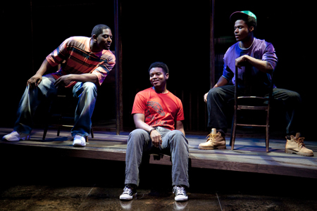 (l to r) Lance Coadie Williams,  J. Mal McCree, and Nickolas Vaughan in Marcus; or the Secret of Sweet  at The Studio Theatre.  Directed by Timothy Douglas. Photo: Scott Suchman.