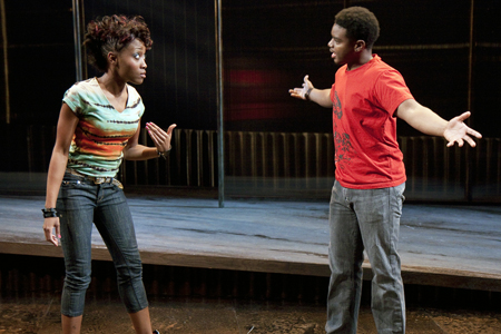 """(l to r) Shannon A.L. Dorsey  and J. Mal McCree in """"Marcus; or the Secret of Sweet"""" at The Studio Theatre. Directed by Timothy Douglas. Photo: Scott Suchman."""