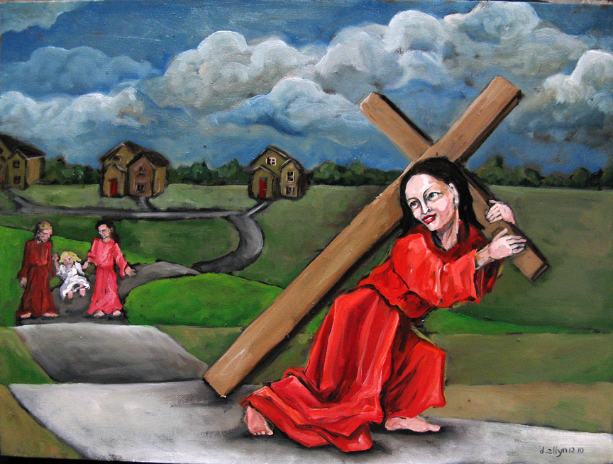 "Bearing the Singleton Cross. 18"" x 24"" oil on canvas. Courtesy of Dana Ellyn."