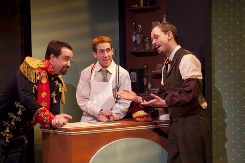 "Michael Glenn, Matthew McGloin and Ashley Ivey in Constellation Theatre Company's ""On the Razzle."" Photo credit: Daniel Schwartz"