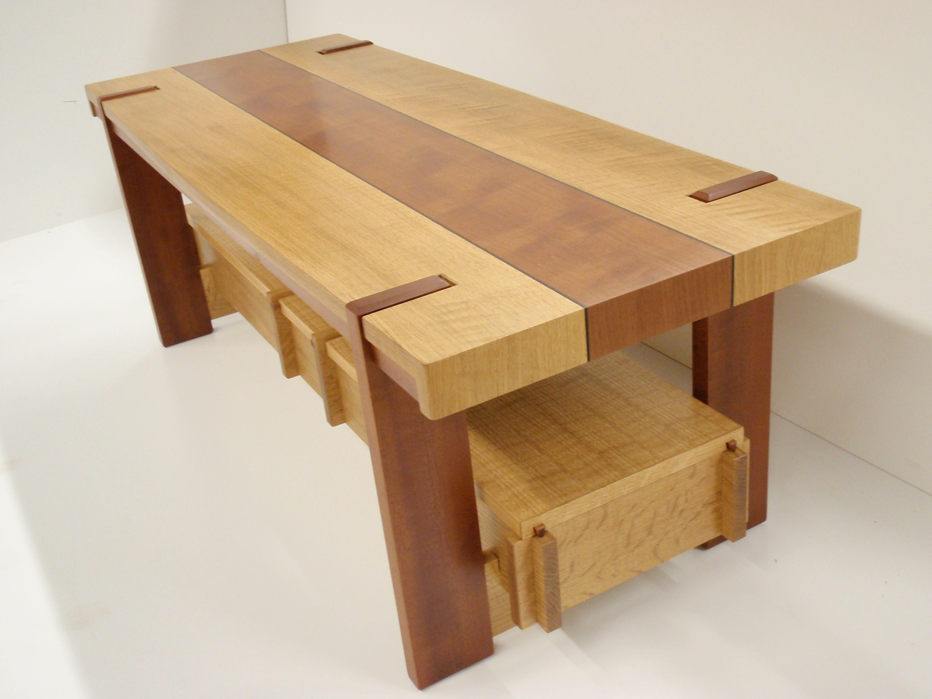 cofee table in white oak and unknown secies with ebony inlays