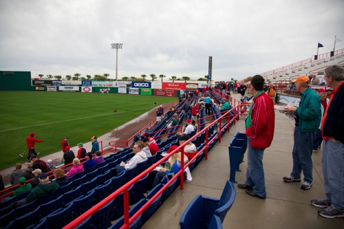Fans watch practice at Space Coast Stadium in Viera FL