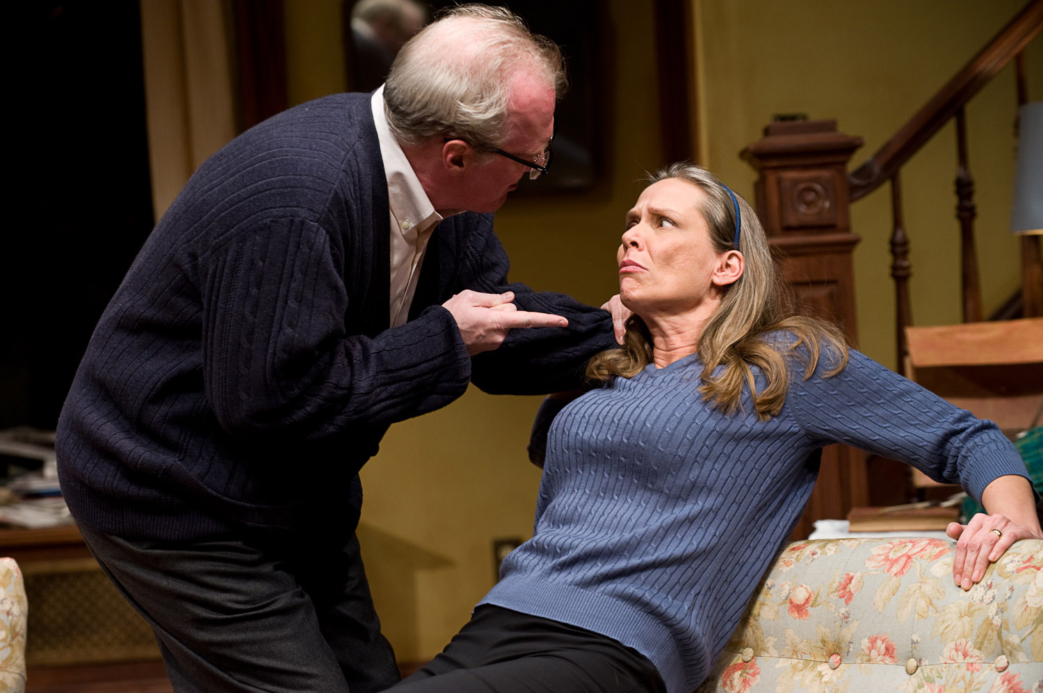 (left to right) Ensemble members Tracy Letts and Amy Morton in Steppenwolf Theatre Company's production of Edward Albee's Who's Afraid of Virginia Woolf? Directed by Pam MacKinnon. Photo by Michael Brosilow.