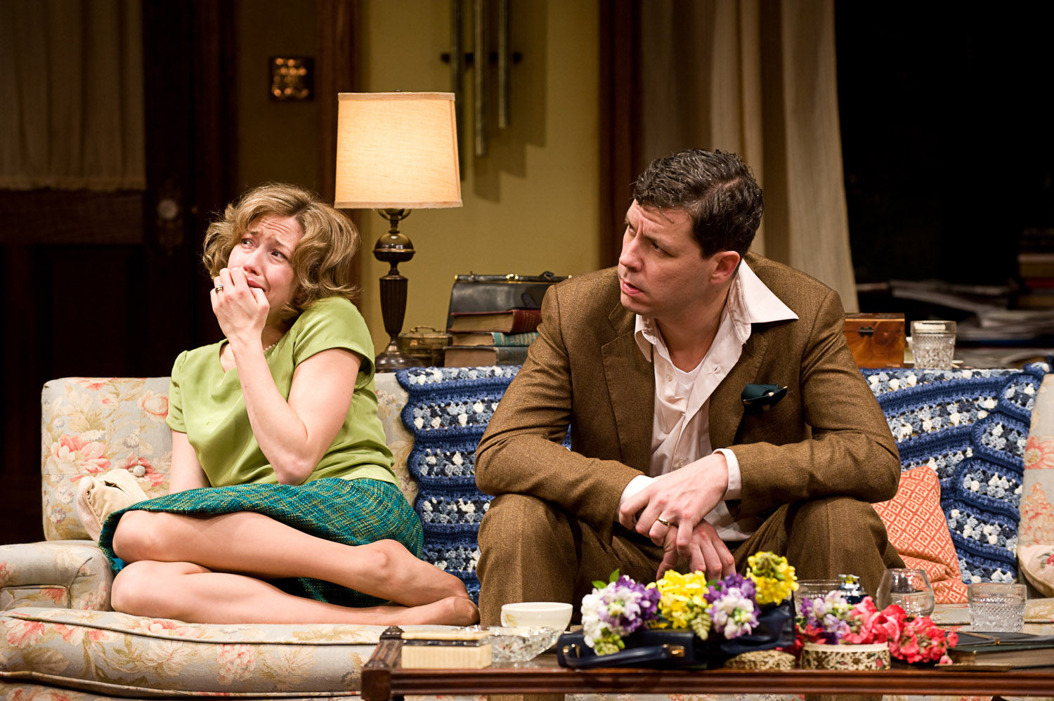 (left to right) Carrie Coon and Madison Dirks in Steppenwolf Theatre Company's production of Edward Albee's Who's Afraid of Virginia Woolf? Directed by Pam MacKinnon. Photo by Michael Brosilow.