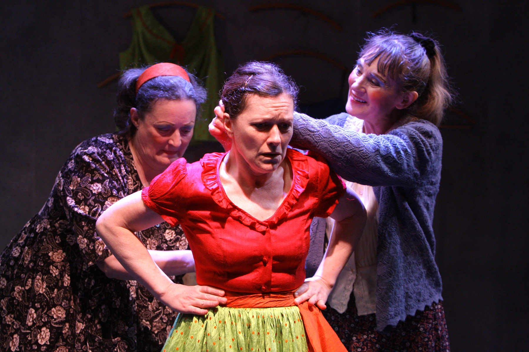(l to r) Nancy Robinette, Jennifer Mendenhall, and Sybil Lines in The New Electric Ballroom by Enda Walsh. Directed by Matt Torney. Photo: Carol Pratt.