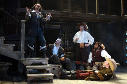 (L-R) Eric Hissom, Chris Genebach, Todd Scofield, Richard Ruiz, and Dan Crane in Cyrano at Folger Theatre, through June 5, 2011. Photo credit: Carol Pratt