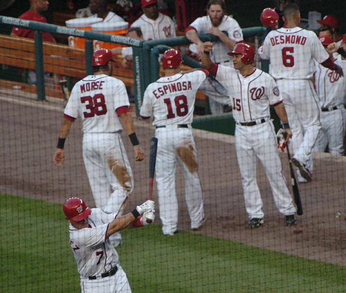 Espinosa celebrates his second home run