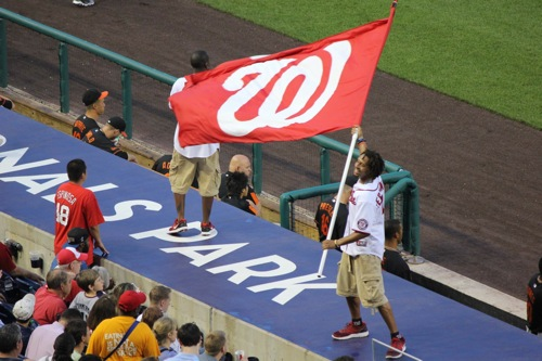 Nationals wave their flag on the dugout