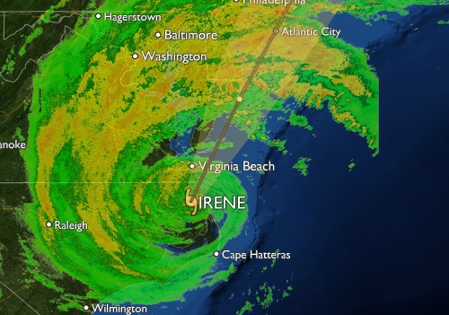 Hurricane Irene radar profile at 5pm Saturday