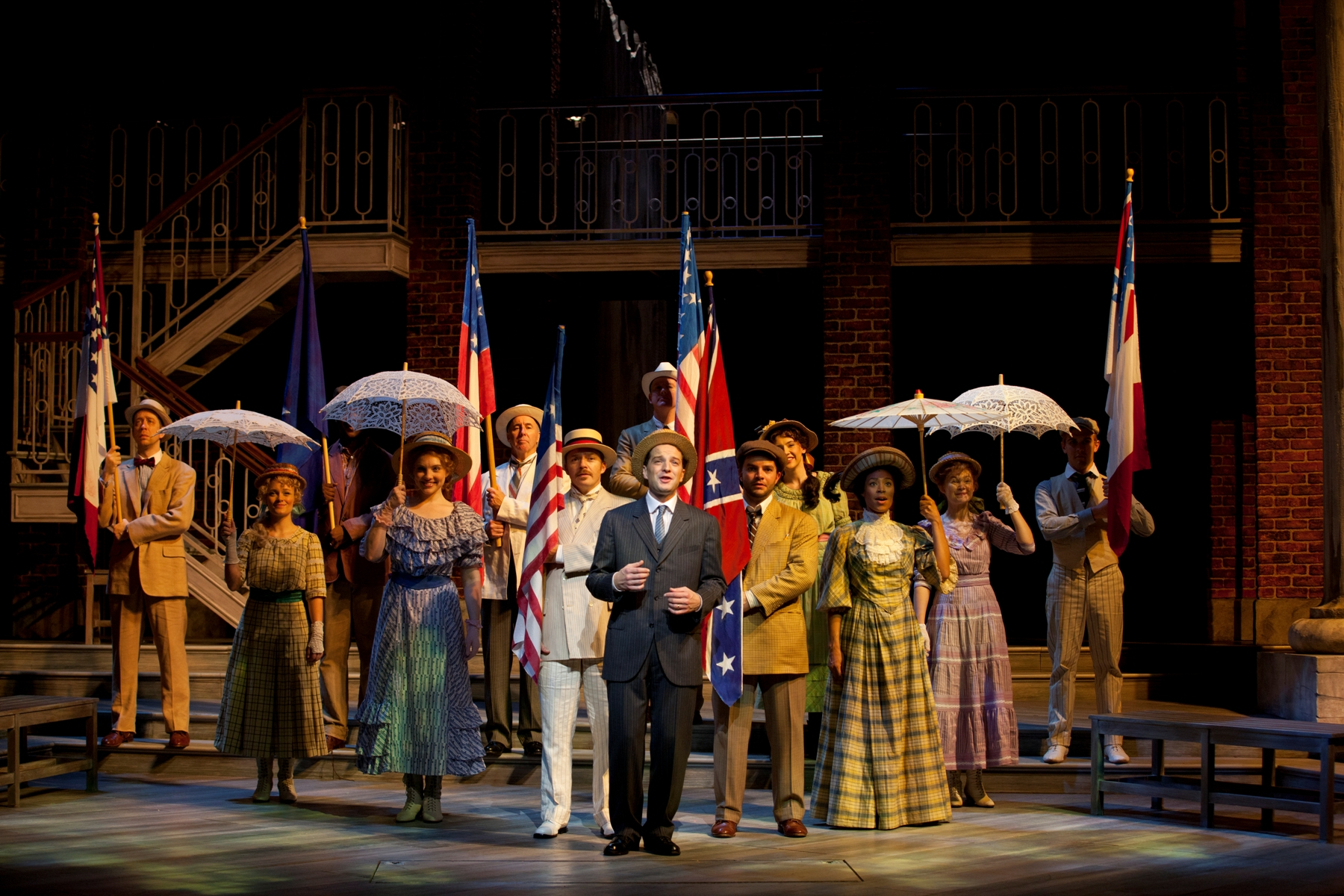 "The cast of the Ford's Theatre Society production of the musical drama ""Parade,"" directed by Stephen Rayne. Photo by T. Charles Erickson."