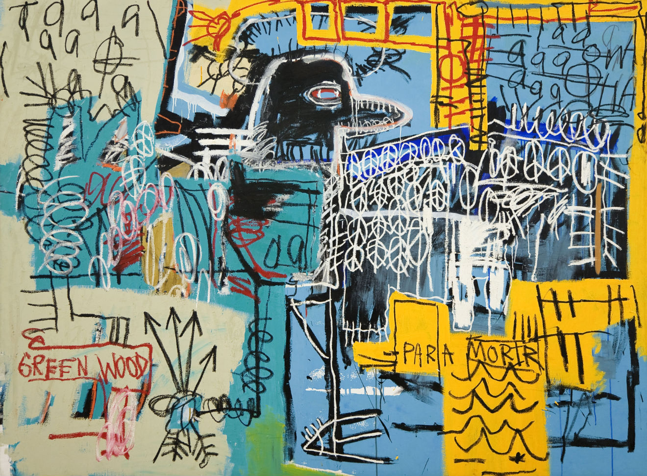 Jean-Michel Basquiat, Bird On Money, 1981. Acrylic and oil on canvas, 66 x 90 inches. Courtesy of Rubell Family Collection, Miami.