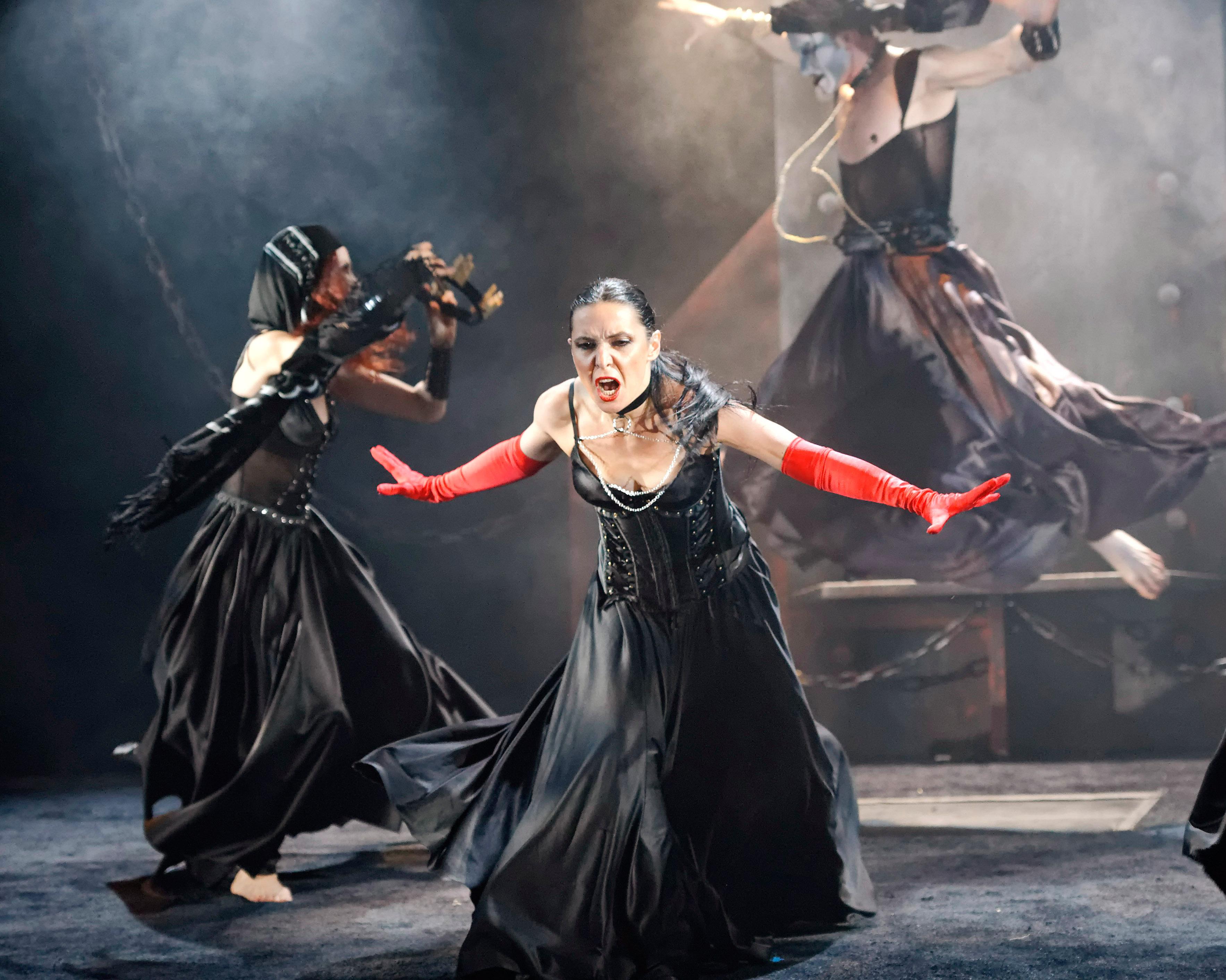 Irina Tsikurishvili, Mary Werntz and Philip Fletcher in Synetic Theater's 2011 production of Macbeth. Photo credit: Graeme B. Shaw