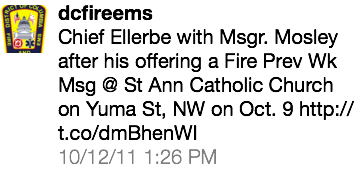 Chief Ellerbe with Msgr. Mosley after his offering a Fire Prev Wk...