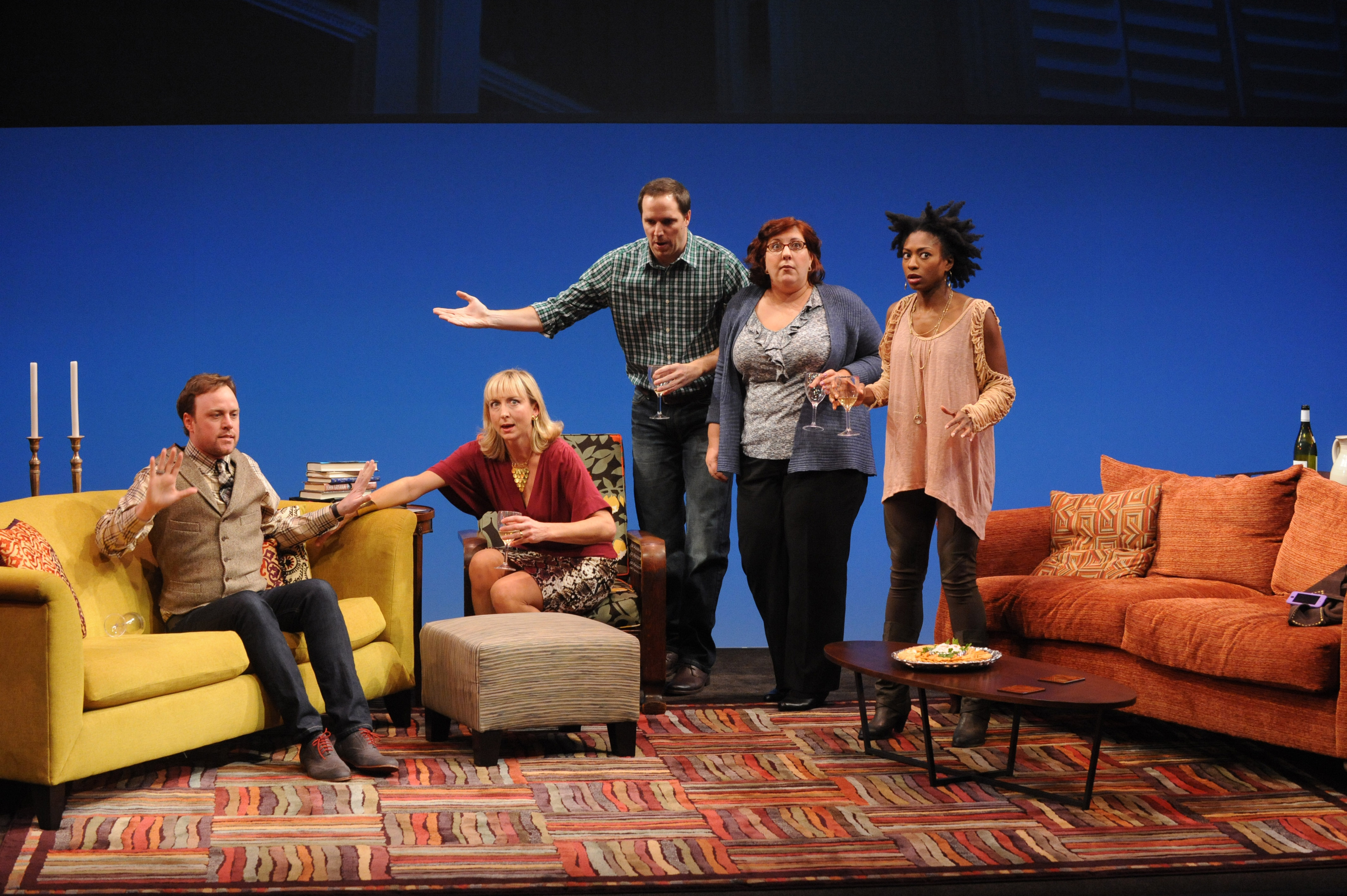 Tom Story as Will, Kate Eastwood Norris as Ana, Eric Messner as Rob, Ashlie Atkinson as Jen and Rachael Holmes as Lily in Arena Stage at the Mead Center for American Theater's production of The Book Club Play. Photo by Stan Barouh.