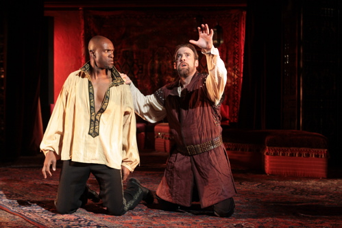 Owiso Odera as Othello and Ian Merrill Peakes as Iago in Shakespeare's Othello, on stage at Folger Theatre through December 4, 2011. Photo credit: Carol Pratt.