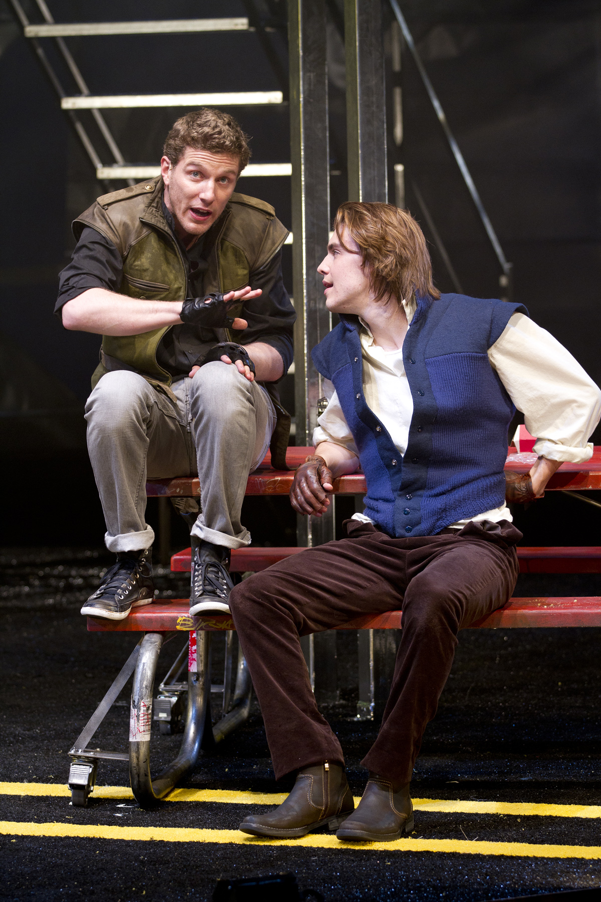 Nick Dillenburg as Proteus and Andrew Veenstra as Valentine in the Shakespeare Theatre Company's production of The Two Gentlemen of Verona, directed by PJ Paparelli. Photo by Scott Suchman.