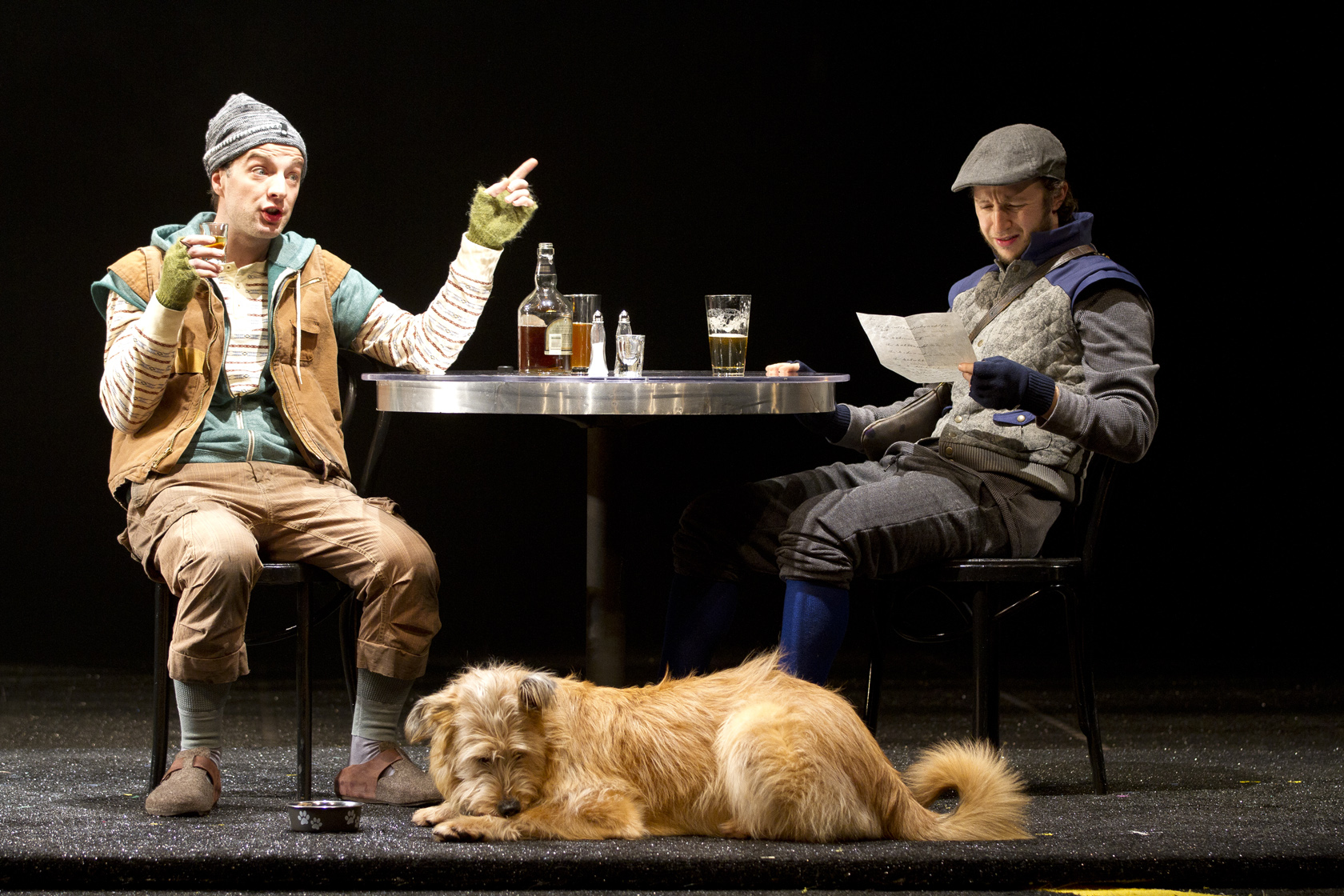 Euan Morton as Launce, Oliver the dog as Crab and Adam Green as Speed in the Shakespeare Theatre Company's production of The Two Gentlemen of Verona, directed by PJ Paparelli. Photo by Scott Suchman.
