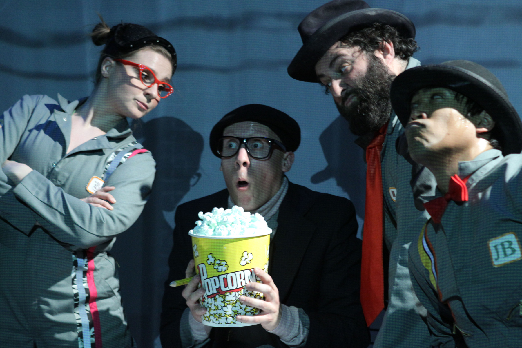 (l to r) Betsy Rosen, Clark Young,  Lee Liebeskind, and JB Tadena in Astro Boy and the God of Comics. Photo: Carol Pratt
