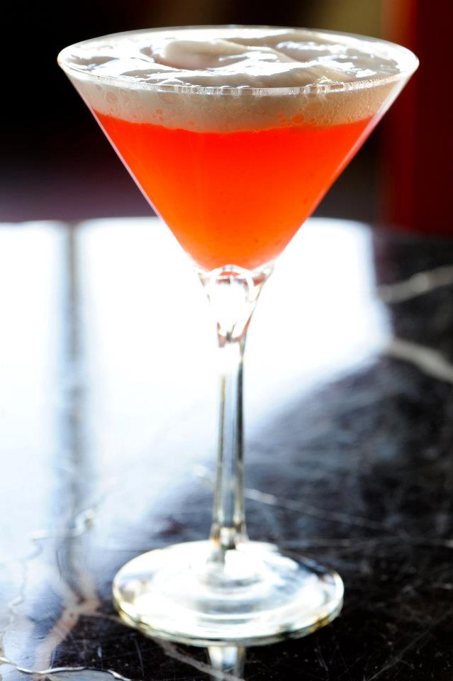 """Cocktail created by Joe Ambrose of P.O.V. at the W Hotel. Inspired by Terry Winter's """"Theophrastus Garden 2"""" 1982. Photo by Dan Swartz."""