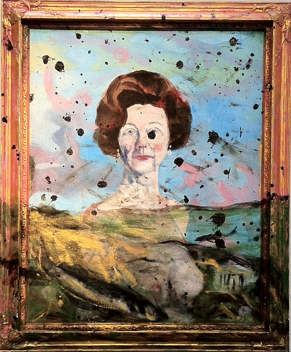 Laura Elkins, Self as Ladybird with Catfish, Acrylic on canvas with wood frame. Photo courtesy The Fridge.