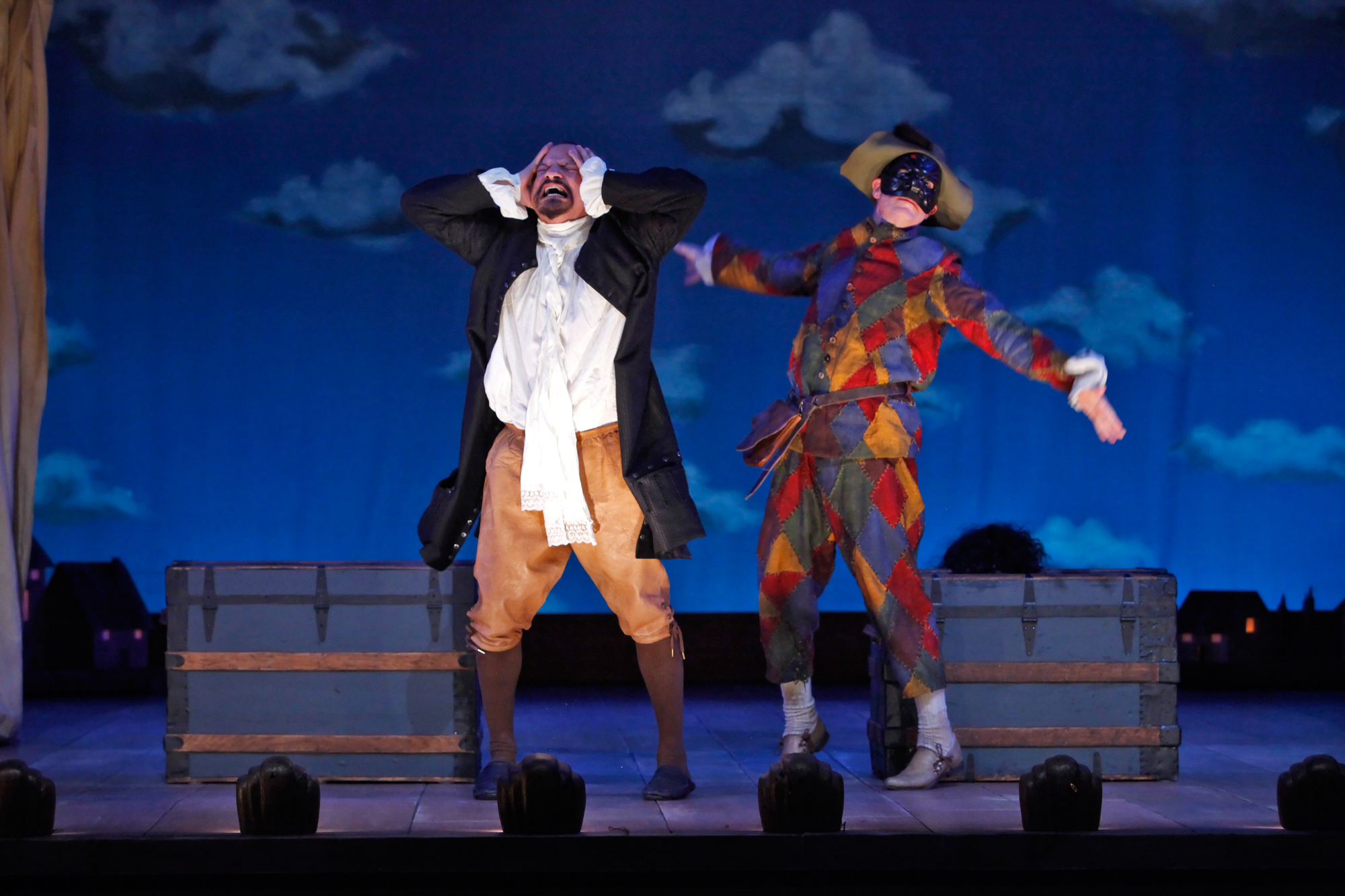 Jesse J. Perez as Florindo and Steven Epp as Truffaldino in Yale Repertory Theatre's 2010 production of The Servant of Two Masters, directed by Christopher Bayes. Photo by Richard Termine.