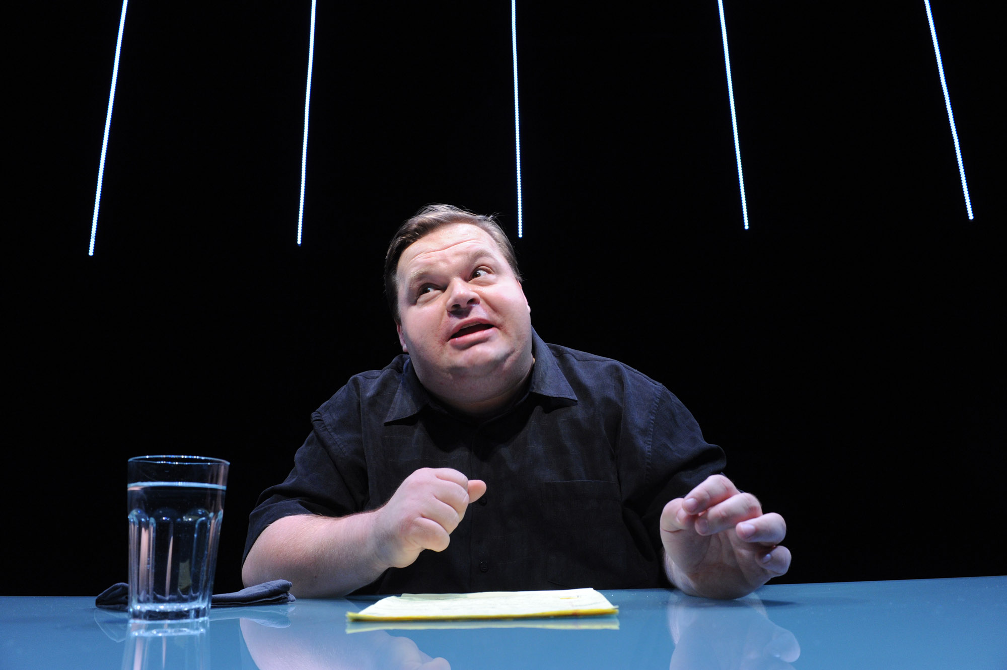Mike Daisey in The Agony and the Ecstasy of Steve Jobs. Photo credit: Stan Barouh