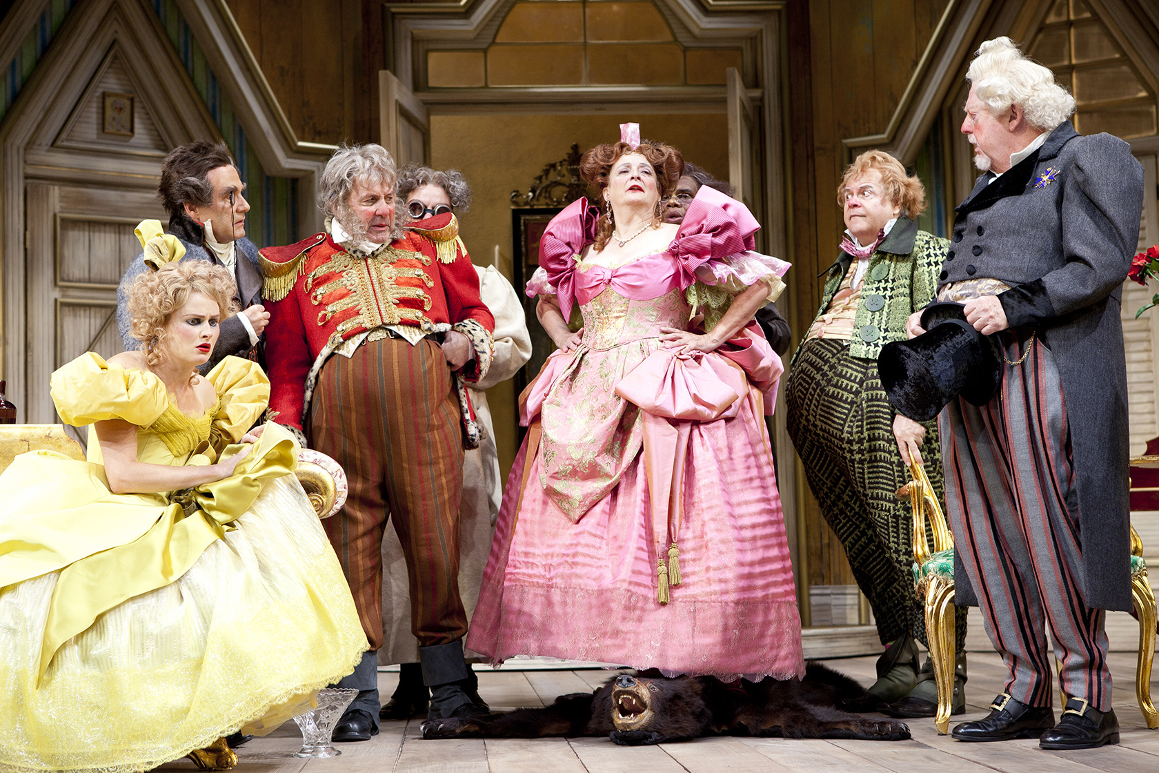 The cast of the Shakespeare Theatre Company's production of The Government Inspector, directed by Michael Kahn. Photo by Scott Suchman.