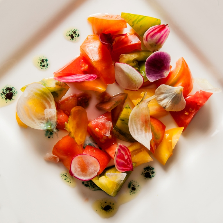 Heirloom Tomatoes, Radish, Sea Salt, Olive Oil, Spirulina