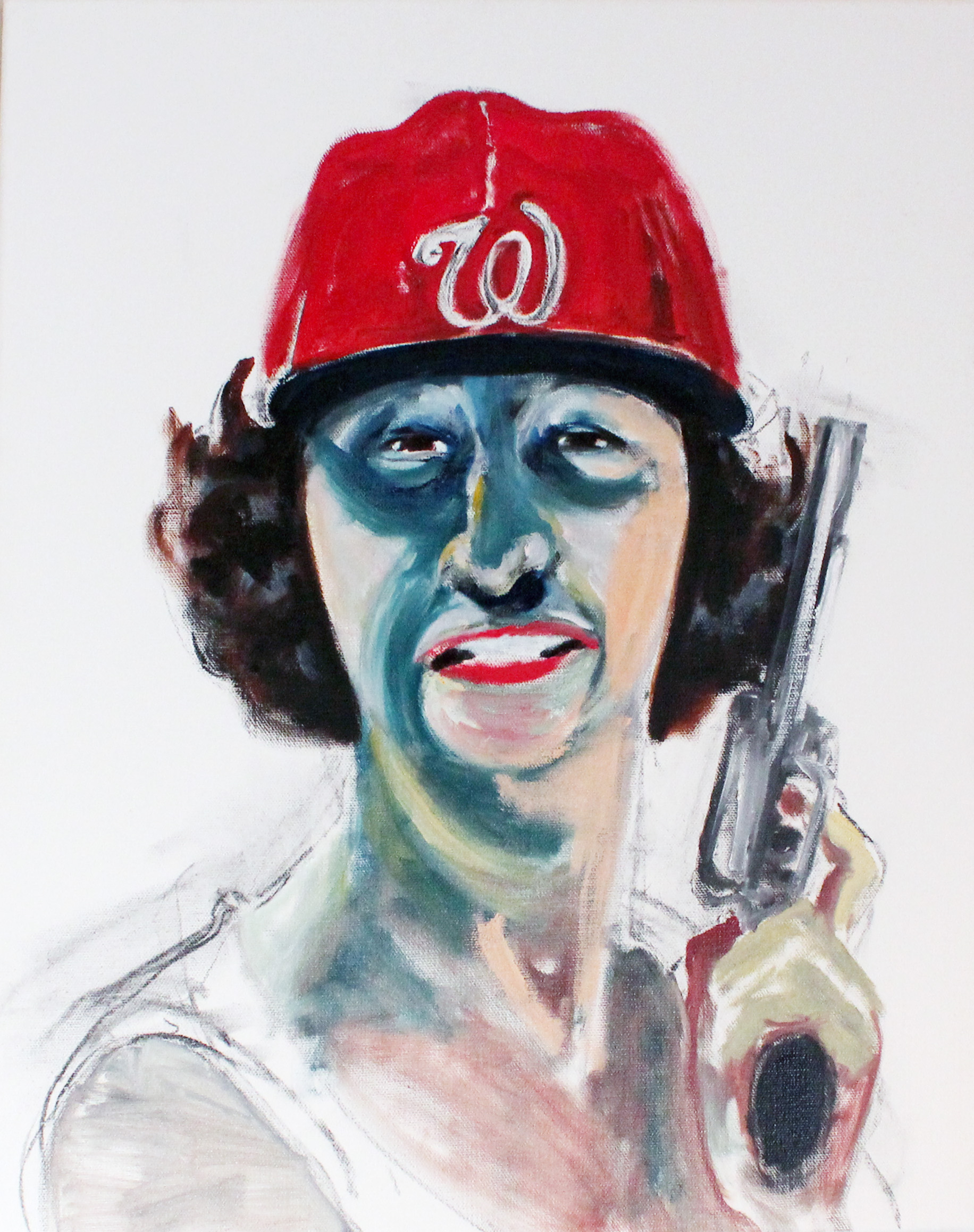 Self as Lady Bird with Nats Cap by Laura Elkins / Oil on canvas, 20 x 16 inches. 2012.