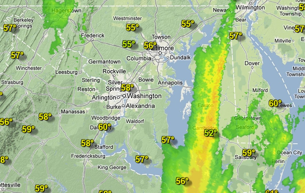 Weather Underground's View at 11am Sunday