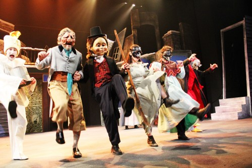 Production photo from A Commedia Christmas Carol. Presented at Gallaudet University, Nov 29 – Dec 23. Left to Right: Joel David Santner, Toby Mulford, Tyler Herman, Sandra Mae Frank, Jessica Willoughby and Paul Reisman. Photo by Second Glance Photography.