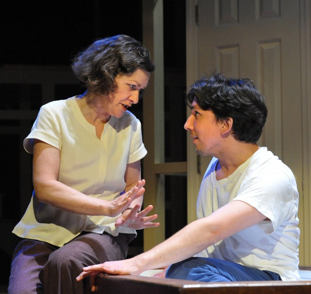 Jennifer Mendenhall & Alexander Strain in Andy and the Shadows at Theater J / Photo by Stan Barouh
