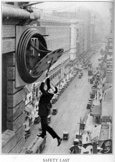 Promotional photo from Harold Lloyd's film Safety Last!, via Wikimedia Commons.